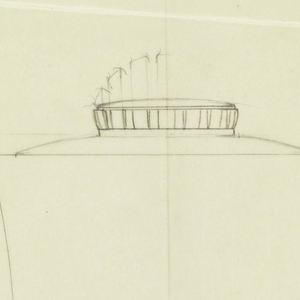 Cylindrical sugar bowl drawn in plan and elevation decorated with thick vertical bands cinched at the middle around the base of the body, the rounded lid surmounted by a circular similarly decorated finial with alternative drawing of a taller arched finial. Elongated scroll handle connecting to the short cylindrical base.