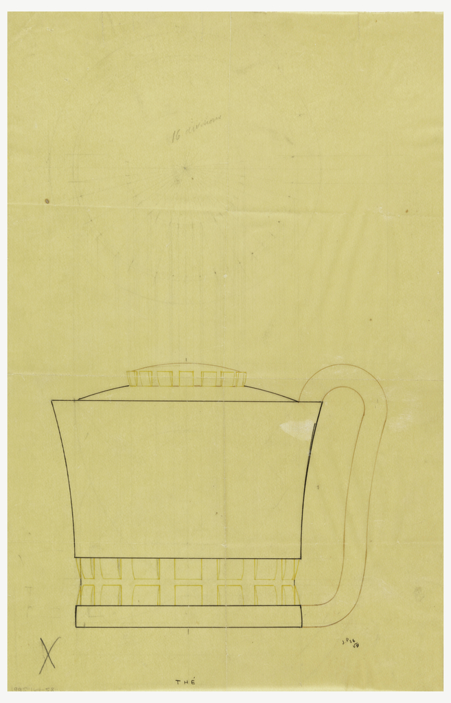 Flaring cylindrical body drawn in plan and elevation decorated with thick vertical bands cinched at the middle around the base of the body indicated in yellow color pencil and graphite. Rounded lid surmounted by a similarly decorated finial indicated in brown ink and yellow color pencil.  Elongated scroll handle indicated in brown ink connects to the short cylindrical base. Underdrawing in graphite of teapot in golden section.