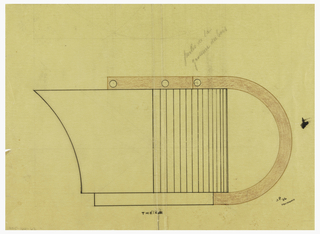 Cylindrical teapot with a flared spout drawn in elevation with applied vertical bands along the back half of the body surmounted by a cylindrical lid indicated in brown ink surrounded by six silver balls connected to a C-shaped handle indicated in brown ink and brown color pencil. Handle connects to the short circular foot. Underdrawing in graphite of teapot in golden section.