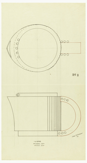 Cylindrical teapot with flared spout drawn in plan and elevation with applied vertical bands along the back third of the body surmounted by a circular lid decorated along the front with five applied balls; C-shaped handle indicated in red ink decorated on each side with three protruding balls at the top and bottom where it connects to the short circular foot. Underdrawing in graphite of teapot in golden section.