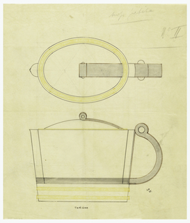 Oval shaped teapot with flared sides drawn in plan and elevation, wide lip decorated on the top with a band indicated in yellow color pencil. rounded lid surmounted by a cylindeical finial decorated on either side with a circular boss, continuing in a band along the top of the lid toward handle indicated in brown ink and graphite. C-scroll handle decorated at the top with motif similar to finial indicated in brown ink and graphite. Body with applied reeded band which attaches handle to body. Raised on a tapering base decorated with two applied  bands indicated in yellow color pencil. Underdrawing in graphite of teapot in golden section.