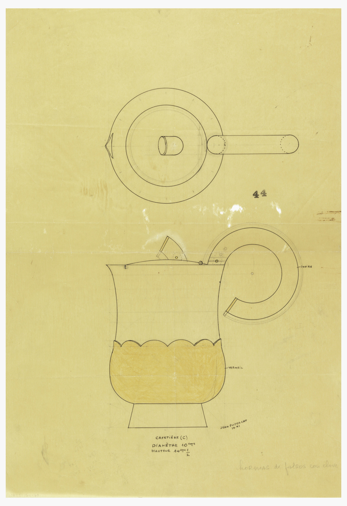 Pear-shaped coffeepot with flared spout drawn in plan and elevation with an applied scalloped-edged lower body indicated in yellow pastel to be executed in vermeil. Hinged lid surmounted by a short stem-form finial and attached C-scroll handle indicated in white pastel to be executed in ivory. Raised on a short flaring foot. Placement of screws and hinge indicated by circles on finial and upper handle. Underdrawing in graphite of coffeepot in golden section.