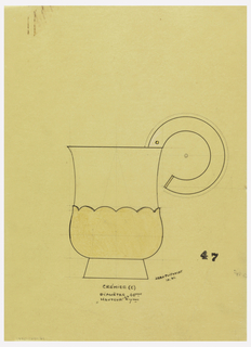 Pear-shaped creamer drawn in elevation with an applied scallop-edged lower body indicated in yellow pastel to be executed in vermeil, attached C-scroll handle indicated in white pastel to be executed in ivory, raised in short flaring base. Placement of screw indicated by circle on upper handle. Underdrawing in graphite of creamer in golden section.