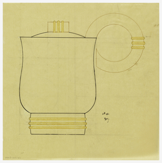 Round coffeepot with flared sides and bulbous lower body drawn in elevation, the lid surmounted by a cylindrical finial indicated in brown ink bound by three applied horizontal bands indicated in yellow color pencil. Circular handle indicated in brown ink and bound at the side by three applied horizontal bands indicated in yellow color pencil. Underdrawing in graphite of coffeepot in golden section.