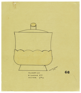 Pear-shaped sugar-bowl flared at the top drawn in elevation, with applied scallop-edged lower body indicated in yellow pastel to be executed in ivory. Underdrawing in graphite of sugar bowl in golden section.