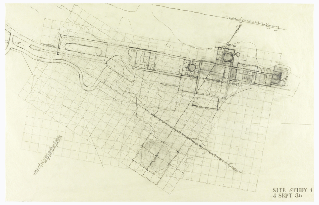 Drawing, J. Paul Getty Center, Los Angeles: Site Study 1