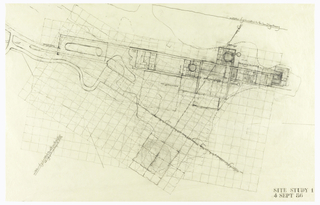 This early drawing of the Getty complex layout shows the architect developing the orientation and regulating grids for the architecture which are based on the 22.5 degree angle of the San Diego Freeway as it comes from the south and bends to the north below the Center.  This is also the same angle of two intersecting ridges that run through the complex.  Superimposed on the two orientation lines Meier has set two grids on which he has begun to lay out a grouping of museum pavilions and a visitor arrival area.
