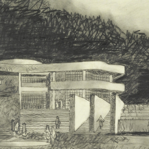 The view visitors would see as they exited the tram taking them from the parking garage to the hilltop where the main buildings are situated.  Figures stand in the arrival plaza at the foot of a cascading waterfall and staircases leading visitors to the museum entry building, on the upper left, and the restaurant pergola, at the upper right.