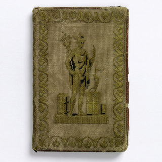 Case covers of canvas embroidered in wool. Classical border motif encloses classical figures: one is a full-size figure, and the other is a bust. Lined in green silk.