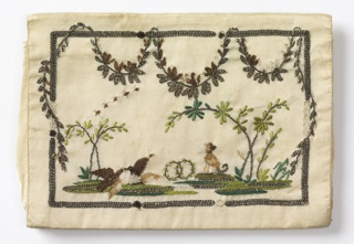 White silk letter case, worked as a single panel and folded. Embroidered in silver threads with scenes of animals and flowers, with swagged garlands.