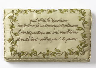 Pocketbook of cream-colored silk taffeta embroidered with verse and flowering vine in pink, green and tan silk. Twisted cream-colored silk floss cord around edges; pink silk lining. 