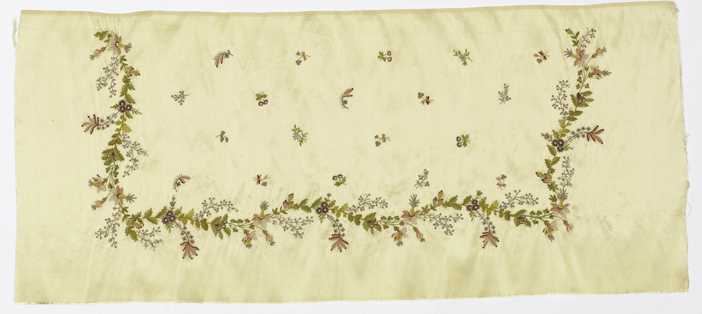Rectangular piece of cream-colored satin showing a continuous meandering vine and flower pattern embroidered along three sides of the panel. Inside are small, isolated flower sprigs.