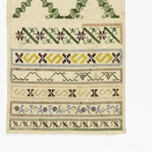 """Unfinished sampler.  Top reads """"Ni me p...""""  Cross borders along bottom in geometric and floral patterns."""