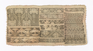 Sampler with three compartments containing a variety of pattern bands embroidered using a running stitch with black thread.