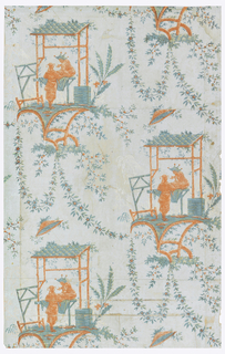"Vertical rectangle. Drop-repeating design of rustic shelter, in style of Pillement's ""Baraques Chinois"" and two figures of Chinamen, with festoons and sprays of flowers and foliage."