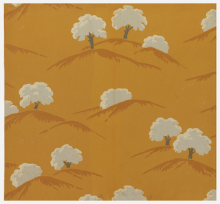 Stylized landscape views of trees on hills. The tree foliage has the appearance of cotton, Printed in white and borwn on a bright orange ground.  Diagonals and stylized foliage.