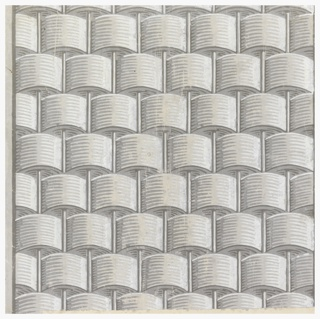 Square of paper printed with basketwork or basket weave pattern in grisaille. Vertical rods and the use of light and shadow create a strong sense of relief or trompe l'oeil.