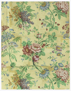 Vertical rectangle, with serpentine sprays of lilac and other flowers printed in bright colors, on cream ground.