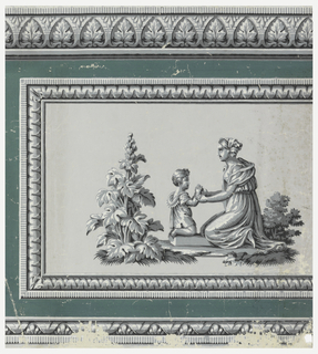 Horizontal rectangle of paper suitable for a dado. Gray field with architectural moldings in blue-gray, shaded in black and highlighted in white. Motif in center of paper displays figures of a woman and a child, with shrubbery.