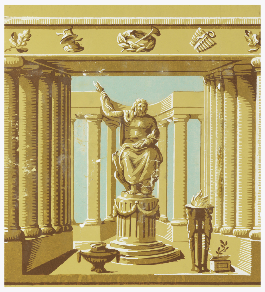Square of paper. Architectural construction suggestive of a temple of classical antiquity, with statue of Jupiter in the center.