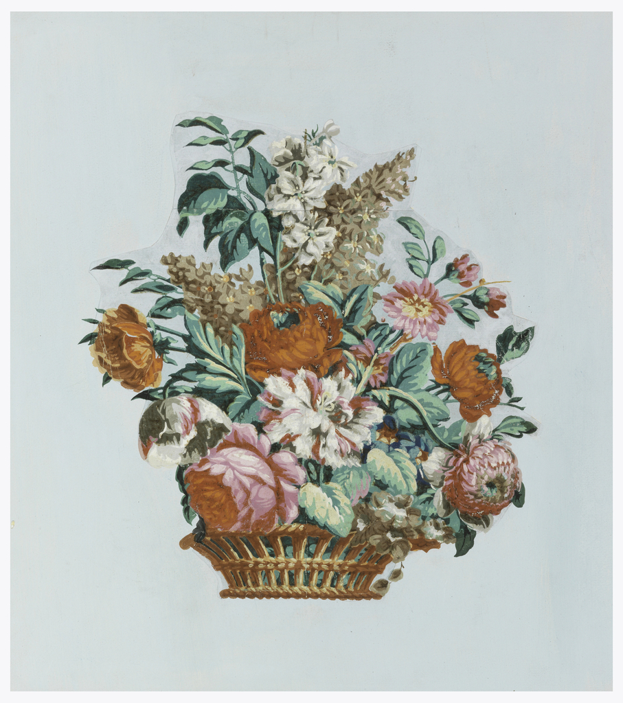 Bouquet of flowers in basket. Printed in colors on blue ground.