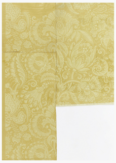Vertical rectangle, on joined sheets of paper. Conventionalized pattern of full-blown flowers and scrolling leaves. Printed in pale yellow and white on darker yellow satin ground.