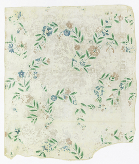 Scattered sprays of foliage, with flowers and berries. Printed in blue, pink, green and neutral orange.