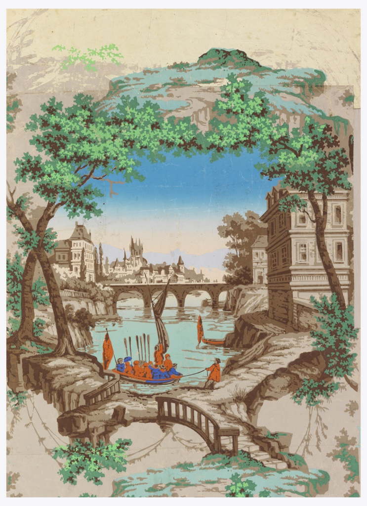 Vertical rectangle, the end of a roll, giving a scene vignetted in framework of trees. A lake, with bridge across middle distance and castles beyond; house in foreground, at right, and boat full of red-coated soldiers being drawn to shore.