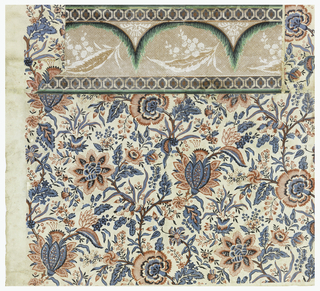 "Red and blue floral paper on a white ground in the style of an ""Indian printed"" with a border attached. Might have been printed from textile block. Border is simulation of lace drapery."
