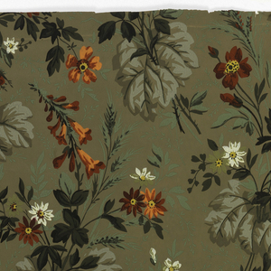 Floral clusters - orange and red roses and white and yellow daisies - in random arrangement on grayish brown ground. Green, dark green and gray leaves.