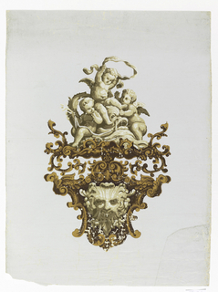 Group of three putti with dolphin, in pale browns, at top. Below this a scrollwork cartouche or medallion in darker browns at the center of which is a satyr-like mask in pale browns. Printed on pale blue glazed ground.