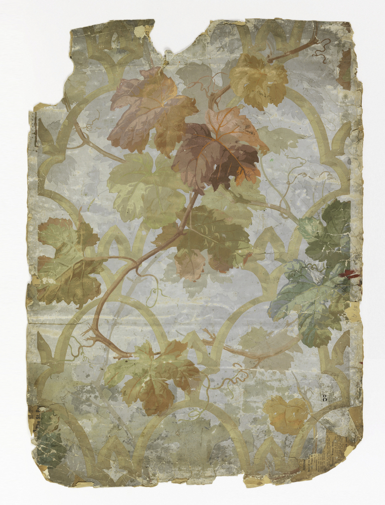 a) On gray ground, large-scale lattice work in beige, entwined with grayed pastel-colored grape leaves; b) Same.