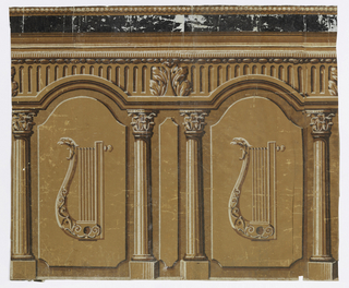 Design of lyres and columns, printed in shades of brown.