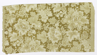 On shiny gold ground, clusters of off-white, tan and brown chrysanthemum-like flowers in various stages of openness alternate with stylized four-petal daisies and buds in same colorway.