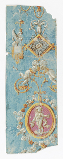 Arabesque design, putti in gold medallion with pink background, sphinx perched on a lambrequin. Printed in shades of gray, pink and ocher on blue ground.
