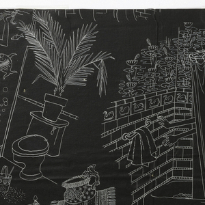 Super Sanitas design printed in white on black, various bathroom scenes including mermaid in shower stall, woman reading in bathtub, three arms reaching out of shower, etc.