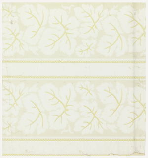 Vertical rectangle. Double vertical panels containing dentate leaves in white, with golden yellow veins and scalloped. Printed in colors and glazed.