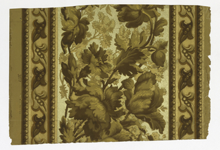 """A continuous spray of large floral motifs runs through the center, on either side is a band of a leaf motif edged with a beaded border. The field is in three shades of gold. All of the gold background is embossed with a pebble effect. """"3117"""" is printed on the margin. Printed in shades of brown and tan on gold field."""
