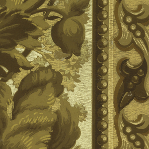 "A continuous spray of large floral motifs runs through the center, on either side is a band of a leaf motif edged with a beaded border. The field is in three shades of gold. All of the gold background is embossed with a pebble effect. ""3117"" is printed on the margin. Printed in shades of brown and tan on gold field."
