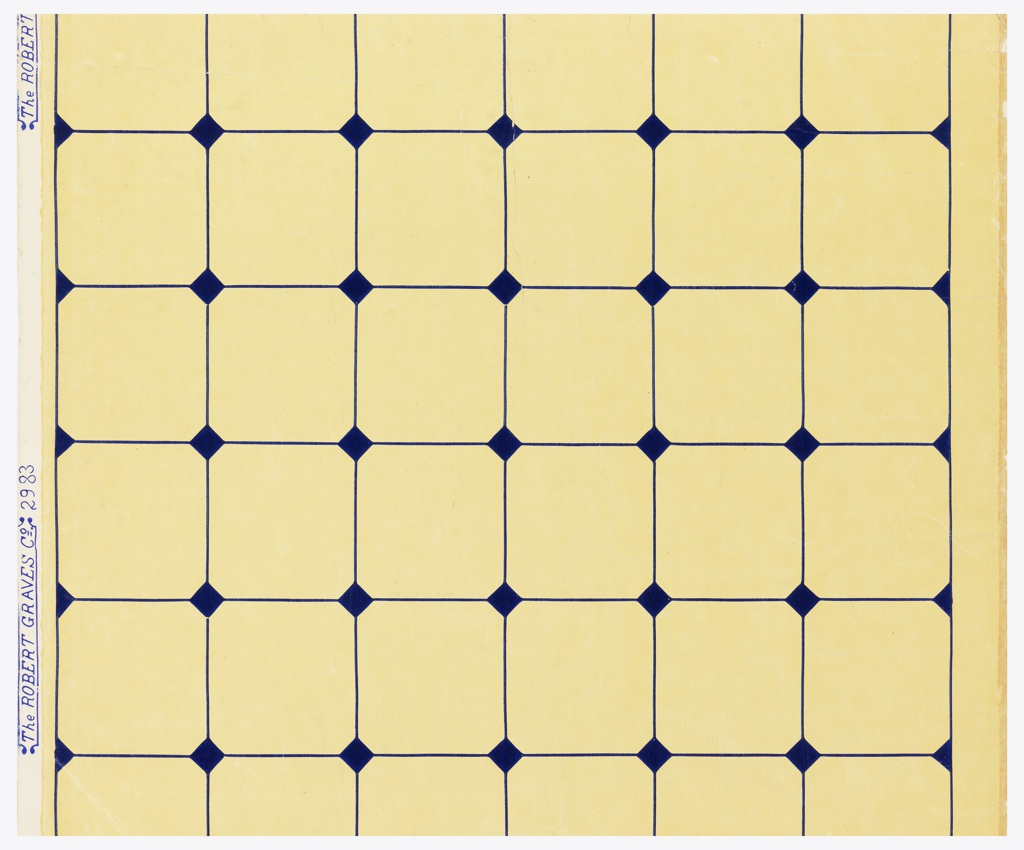 Tile pattern, smallish squares with deep blue lines printed on muted yellow ground. Full width. Simulation of tile work, with blue lines, and small blue squares set diagonally at points of intersection. Blue on paper.