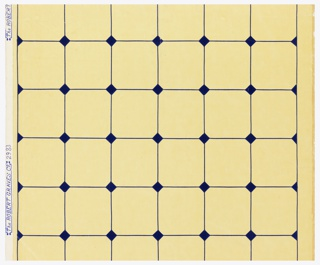 Tile pattern, smallish squares with deep blue lines printed on muted yellow ground. Full width. Simulation of tile work, with blue lines, and small blue squares set diagonally at points of intersection.