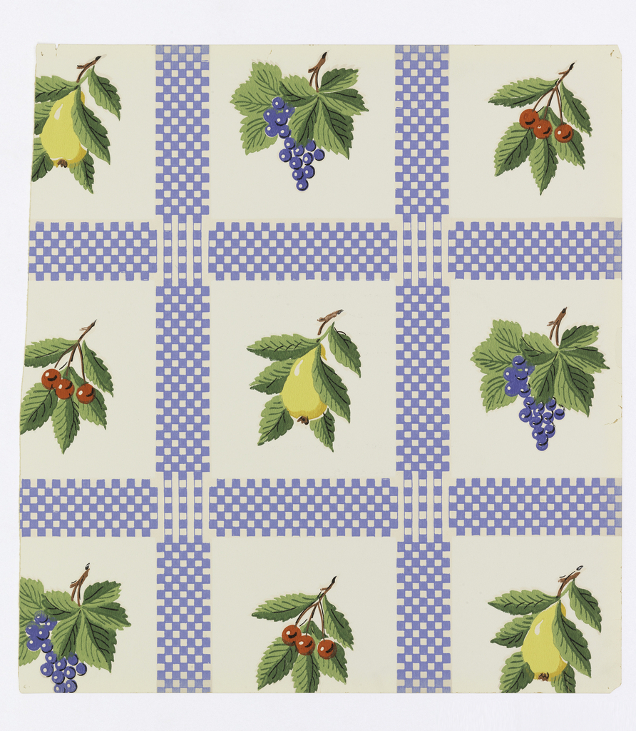 Blue plaid design printed on white ground. Each square contains a type of fruit with leaves, including cherries, grapes and a pear.