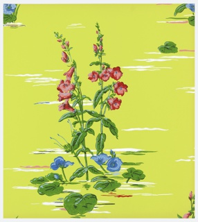 Tall gladiola-like pink flowers, with low growing purple flowers, printed on a yellow-green ground.