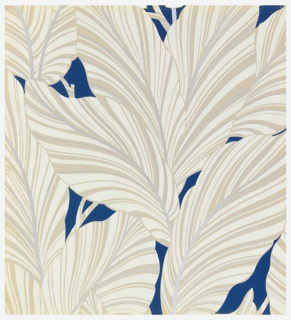 Large leaves printed in shades of tan, on deep blue ground.