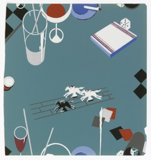 Cocktail paper, including mixed drinks, horse racing and dice. Printed in red, blue, black and white on blue-gray ground.
