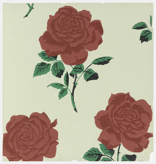 Large red roses on short stems with leaves, printed on white ground.