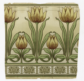 Tall and short tulips and leaves alternating on stippled ground. At base, rectangles filled with olive flower and leaves.