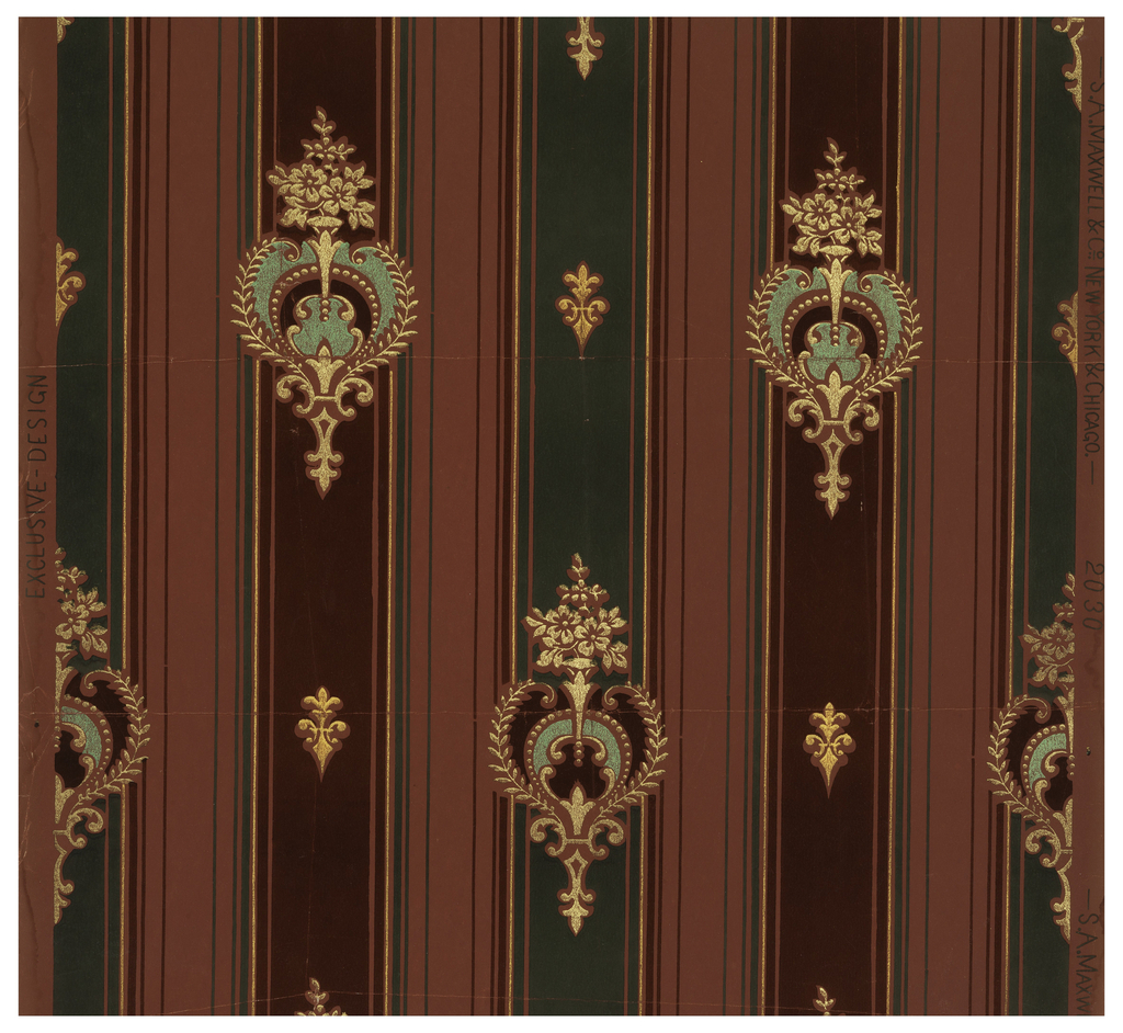 Stripe with conventionalized floral & foliate motif interjected on rigidly diamond grid. Printed in green, maroon and pink with metallic gold on red ground.