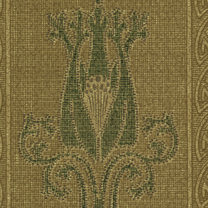 On textured brown ground, vertical bands containing fan motifs with foliate green and lavender motifs.