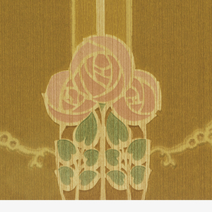 Cluster of three round pink roses on stems. Roses are printed on vertical stripes and are connected by swags. Printed in pink, green, tan and brown.